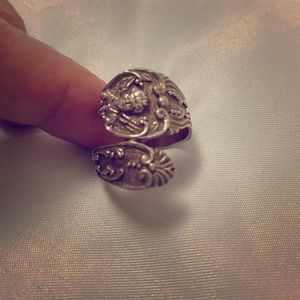 Vintage Angel Spoon Ring Silver